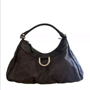 Gucci Guccissima Brown Leather D Ring Bag